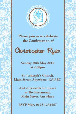 Personalised Confirmation Invitations Son Design 3